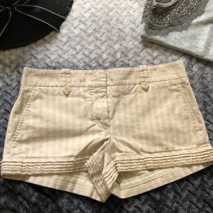 BCBG MAXAZRIA pin striped frayed hem shorts